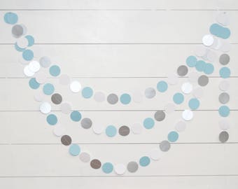 Paper Garland -  14ft - Silver and Blue - Baby Shower Decoration - Birthday Party Garland - Boy Baby Shower