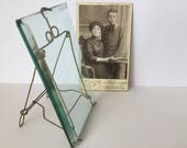 Antique Beveled Glass and Metal Wire Picture Frame with Antique Cabinet Photo.