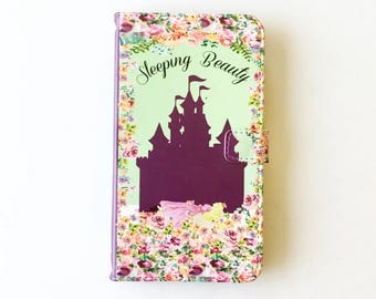 Book phone /iPhone flip Wallet case- Sleeping Beauty for  iPhone X, 8, 7, 6, 6 7 & 8 plus, Samsung Galaxy S8 S7 S6 S5 Note 4, 5, 7 8, LG