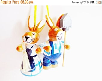 SUMMER SALE - Pair of Lovely Vintage Wooden Bunny Ornaments Couple Gardener- Home decor for Easter