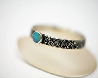 Tiny Ethiopian Opal and Fern Pattern Antique Silver Ring