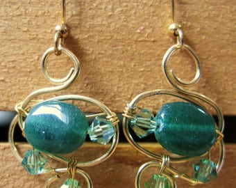 Irish Green Aventurine Gold Wirework Earrings