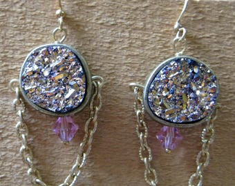Gold Chain and Pink Druzy Earrings