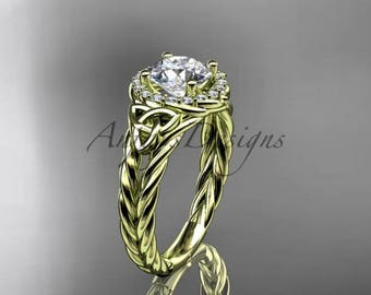 14kt yellow gold halo rope celtic triquetra engagement ring RPCT9131