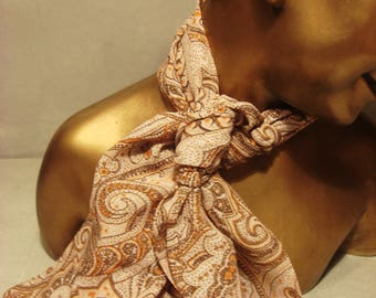 Vinatge 1980s Gold, Brown and Beige Pasley Scarf