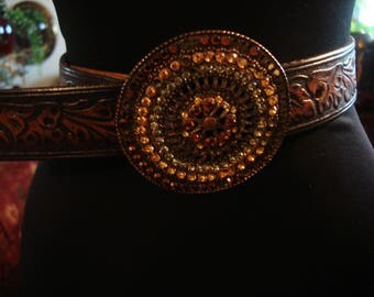 Vintage 1990s Boho Gypsy Concho Round Blinged Out Embellished Chic Belt