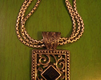 RESERVED Angie Vintage Black and Silver tone Necklace with Square Pendant