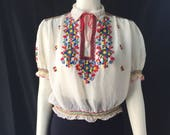1930s 1940s peasant blouse