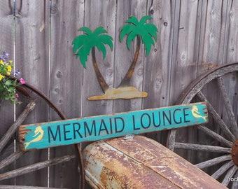 Mermaid Lounge Distressed Wood Sign
