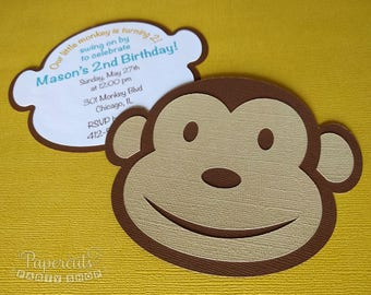 Monkey Theme Personalized Birthday Party Invitation