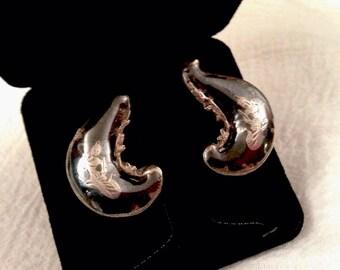 Vintage Sterling Silver Oriental Dancer Screwback Earrings