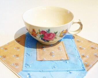 """Mug Rug, Drink Coaster, Fabric Coaster, Mug Mat, Snack Mat, Blue Mug Rug, Floral Mug Rug, Quilted Mat, Fabric Mat, 6 1/4"""" x 6 1/4"""", #127"""