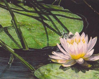 Lotus Flower Art Print Dragonfly Watercolor Painting Landscape Painting Nature Wall Decor Zen Art Contemporary Green and Pink