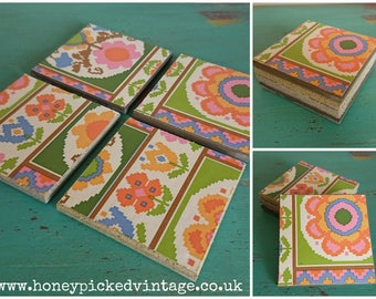 Handmade granite Tile drinks Coasters set of 4 vintage retro geometric design gift idea square
