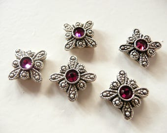 Swarovski Crystal  Antique Silver Plated 2 Hole Slider Bead - 12mm Ruby Red Butterflies - 5 pieces