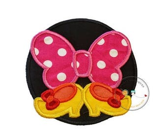 ON SALE NOW pink bow and shoes circle iron on applique inspired iron on applique, iron on fabric patch with bow and shoes
