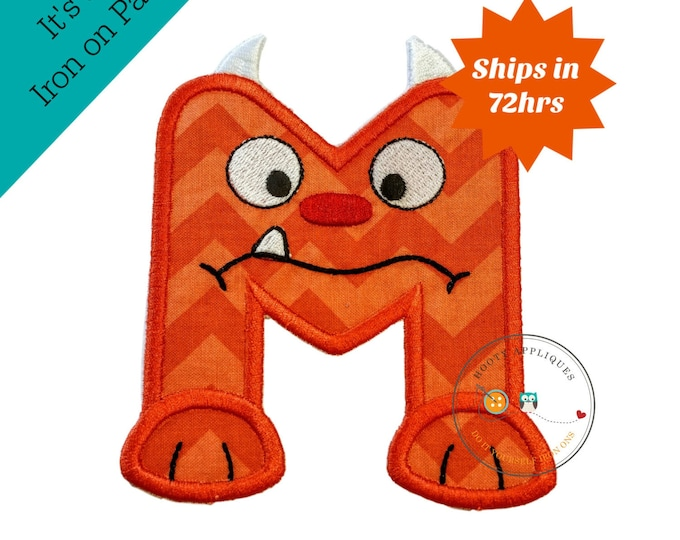 Monster letter M applique, initial embroidered patch, iron on applique letter for kids, iron on letter embellishment, iron on monogram patch