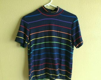 Rainbow Striped 90s Top // vintage