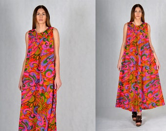 Mark Yamanaka Vintage 60s Psychedelic Boho Maxi Dress