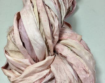 New Recycled Sari Silk Ribbon Pastel Pinks Creams Jewelry Tassel Ribbon Eco Gift Wrap Garland Weave Crochet Fair Trade Fiber Art Supply