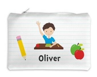 Personalized Pencil Case - Student Sitting at Desk Boy Girl School Lined Paper with Name, Customized Pencil Case, Pencil Holder, Pouch