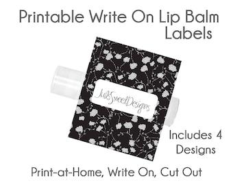 Ballet Lip Balm Labels - Black Tie Flower Dots Lattice 4 Designs, Write On Print at Home Instant Download, Lip Balm Labels