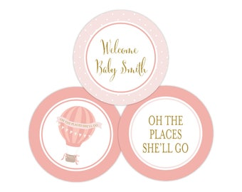 Personalized Oh The Places She'll Go Stickers (It's A Girl Decor, Printable Party Circles, Printable Shower Decorations)