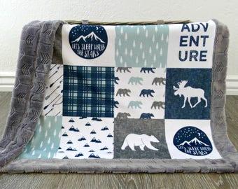 Minky Baby Blanket- Lumberjack Baby Boy Blanket- Navy Baby Boy Bedding- Adventure Blanket- Woodland Nursery- Rustic Nursery