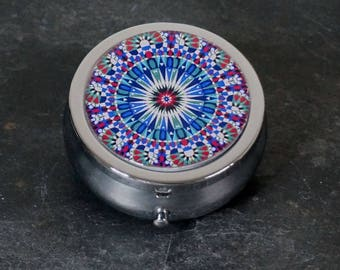 Pill Box Medicine Case Trinket Box Pill Case Patterned Mandala Blue Red White Green