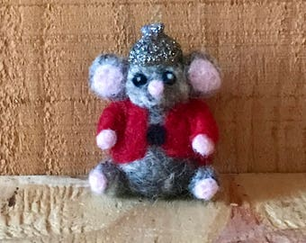 Needle Felted Grey Mouse with Glitter Acorn Cap