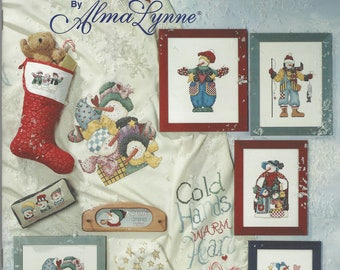 """Clearance - """"Frosty Folks"""" Alma Lynne Counted Cross Stitch Chart by Jeanette Crews Designs, Inc."""