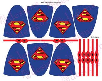Superman Lollipop Capes and Masks / Superhero Party / INSTANT DOWNLOAD / Printable