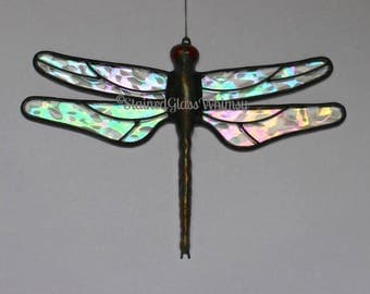 Stained Glass DRAGONFLY Suncatcher, Rainbow Flight, Clear Iridescent Wings, Handcast Metal Body, USA Handmade Original, Iridescent Dragonfly