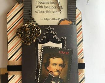 Halloween ~~~ Edgar Allan Poe~~~ Large Hanging Tag~~~ New Item Created for 2017~~~