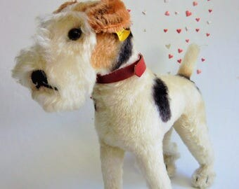 Large Steiff Foxterrier Dog Foxy IDs #4220/28 Collectible Art Vintage Hunde 28cm  Squeaker !! EX.Cond.