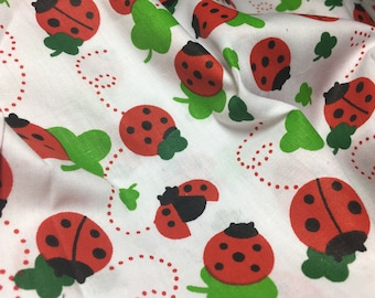 Half Yard Kawaii Four Leaf Clover and Ladybug Print Fabric