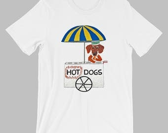 Dachshund T Shirt/Dachshund Hot Dogs T Shirt/Tee Shirts/Doxies/Dachshunds/Wiener Dogs/Wiener Dog T Shirt/Squirreldumplings/Unisex T Shirts