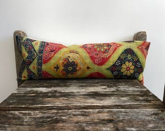 "Indian print Throw Pillow-kantha print pillow -lumber pillow 22""x8""-Indian fabric-indian double side textile-running stitch kantha fabric"