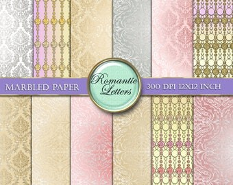 Digital Scrapbook paper wedding digital background paper pack Shabby Chic digital background paper wedding photography printable paper white