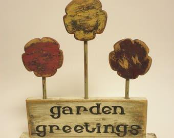 Garden Greetings Sign, Spring Decor, Primitive Signs, Country Farmhouse Decor, Gardening Decor