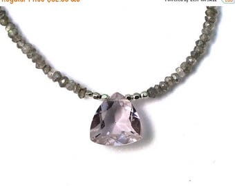 20% off. Morganite Quartz Necklace. Labradorite Necklace. Labradorite and Pink Morganite. Gray and Pink.  Beaded Necklace.