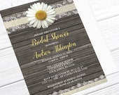 Daisy Bridal Shower Invitations - Burlap and Lace - Yellow with Rustic Wood, Daisy Invitations, Wood Invitations - Printed Daisy Invitations