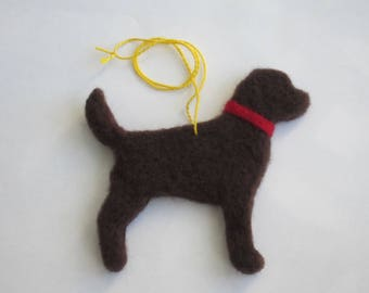 Needle Felted Chocolate Labrador Retriever Ornament