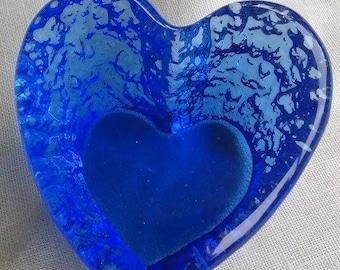 Cobalt Blue Glass Heart Paperweight