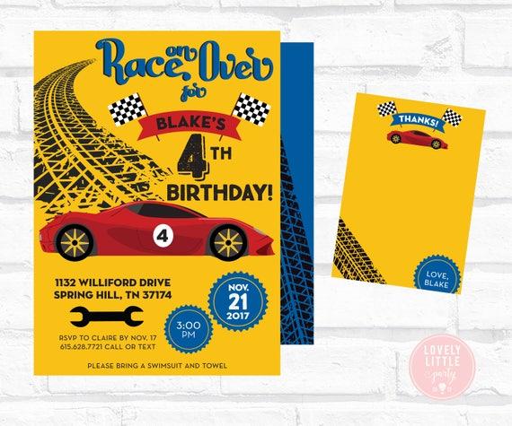 Race Car Birthday Invitation, Racer Invite,  Race Car Birthday Invite Kit - Invite AND Thank You Card included