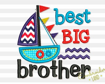 Best BIG Brother and Ship Applique Machine Embroidery Design BA032
