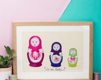 ON SALE Russian doll art - Children's room artwork - New baby gift - Freehand machine embroidery - framed textile - appliqué art - Russian d