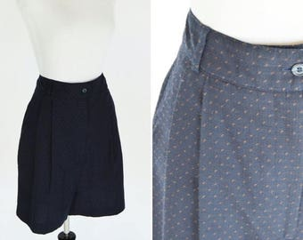 SUMMER SALE Vintage 1980's Navy Blue High Waist Shorts - Blue professional shorts- Ladies size Small- size 8