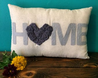 "12"" x 18"" Natural Cotton HOME Pillow w/ Rosette Heart-Choose Your Colors-Custom-Shabby Chic-Rustic Chic-Farmhouse"