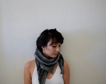 Knit Rustic Gray Triangle Scarf - handmade shawl - lightweight scarf - gray scarf